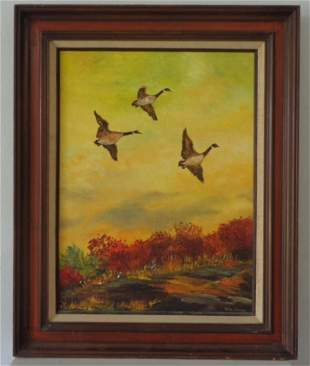 Original Hand Oil Painting Signed Docks Flying