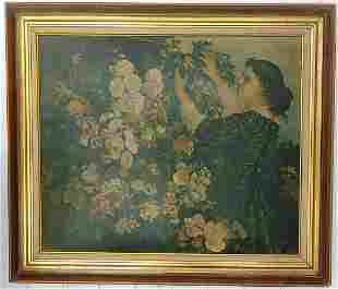 The Trellis By Gustave Courbet Vintage Lithograph