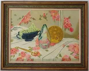 Vintage Laid table Oil Painting on Artist Board