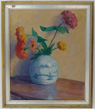 Vintage Flower Oil Painting on Canvas Framed