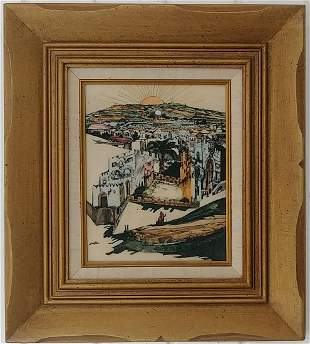 Vintage Framed Etching Enamel Painting S Raskin Plaque