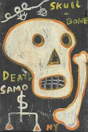 JMB Signed - SAMO - Skull Postcard Size Painting Signed
