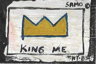 JMB Signed - SAMO - KING- ME Postcard Painting Signed