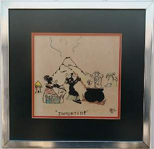 Vintage 1955 Cartoon Art Ink Drawing by Mike Birzon