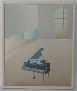 Mid Century Signed Oil Painting on Canvas Signed .Piano