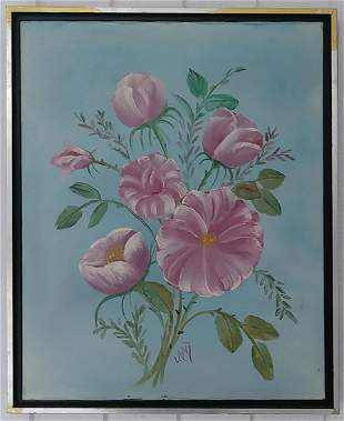 Signed Pink Flower Oil Painting on Canvas Framed