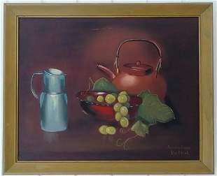 Signed Fruit Oil Painting on Canvas Framed