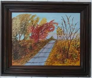 Signed Landscape Oil Painting on Canvas Framed