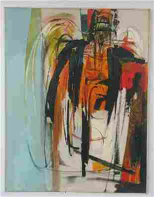 Large Original 1986 Abstract Rare Oil Painting