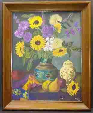 Vintage Still Live flower Oil Painting Signed