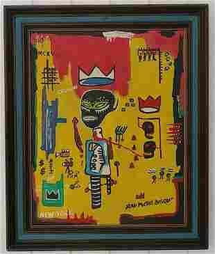Jean-Michele Basquiat -CROWN- Painting Framed