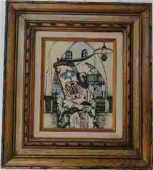 Vintage Framed Etching Enamel Painting ReligiousPlaque