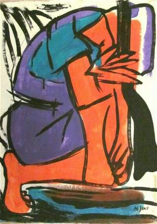 Signed M Janco 20th Century Modern Painting on Can