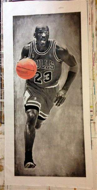 Huge Micheal Jordan Oil Painting on Canvas Signed