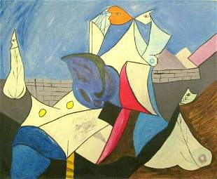 Signed Dominguez 20th Century Modern Painting on Canvas