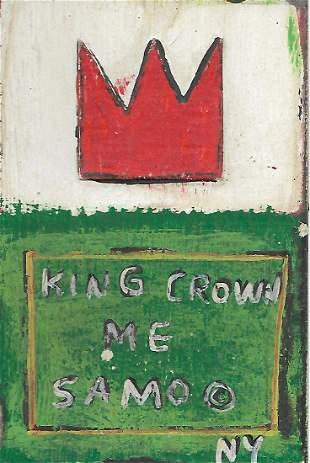 JMB Signed - SAMO - KING CROWN Postcard Painting Signed