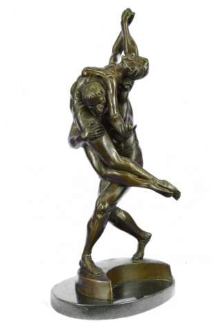 Large Bronze Statue Couple Dancer with Marble Base