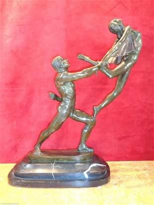Art Nouveau Large Bronze Statue 25 inches H