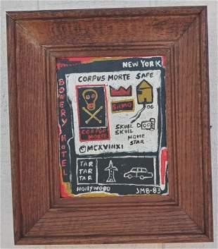 Jean-Michele Basquiat - Corpus Morte Painting Framed