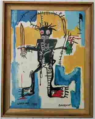 Jean-Michele Basquiat - Warrior - Painting Framed