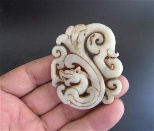 Antique Chinese Natural Jade Hand Carved Dragon
