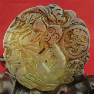 Antique Natural Hand Carved Jade peach monkey pendant