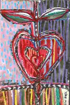 Original J Rivera Abstract New York Big Apple Mixed Med