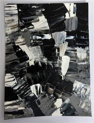 Original Black & White Abstract Texture Painting Signed