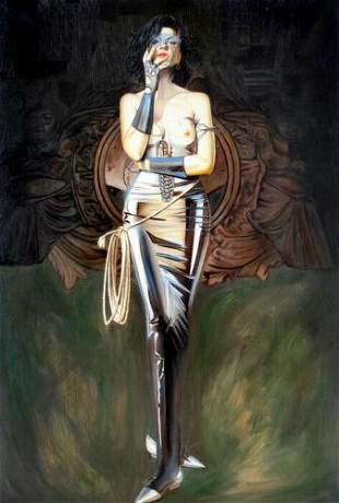 Rare Surreal Lady Abstract Oil Painting on Canvas.
