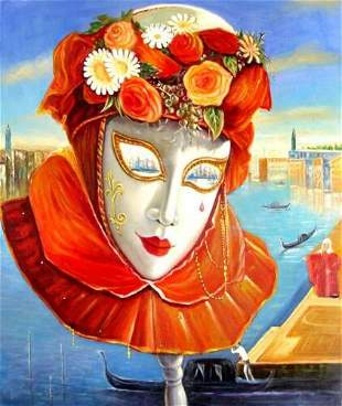 Rare Surreal Lady Flower Abstract Oil Painting on Canva
