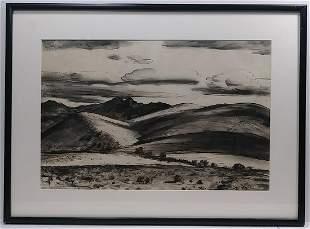 Peter Hurd Ink Painting, Winter Weather CA 1935
