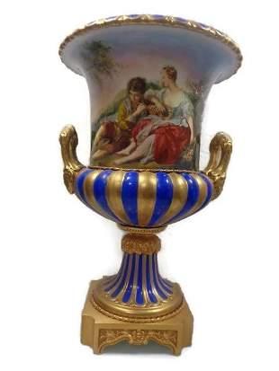 Large Italian Hand-Painted Porcelain Campana Vase