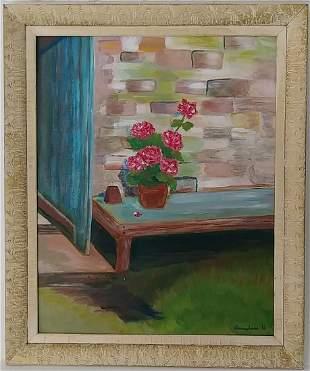 Vintage 193 A. B Signed Dream Flower Oil Painting Frame