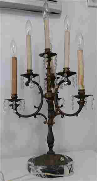 Antique Vintage 5 Arm Candelabra Table Lamp 33 H--- Wid