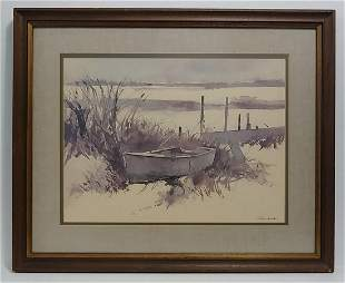 Charles Columbo Watercolor Signed Print Framed