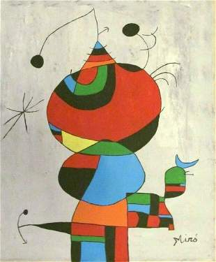 Signed Miro 20th Century Modern Painting on Canvas