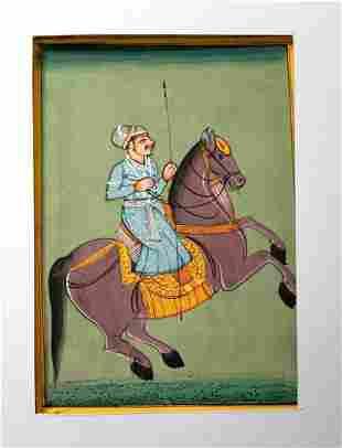 Persian Warrior Maharajah Riding Horse Handmade Paintin