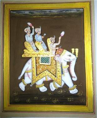 Warrior Maharajah Riding Ambawari Elephant Painting