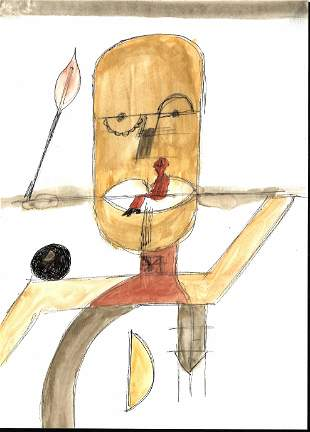 Rare Figure Painting Mixed Media on Paper