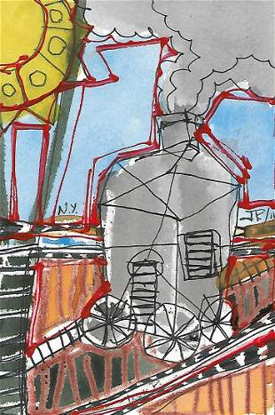 J Rivera New York Mixed Media Abstract Painting