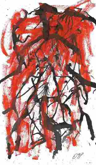 Rare Abstract Surreal Ink Painting.Signed