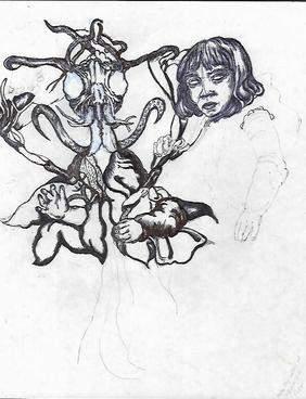Rare ink Drawing Surrealism Painting