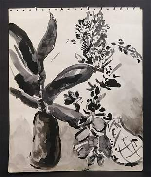 Vintage MID-CENTURY Floral Watercolor Painting.