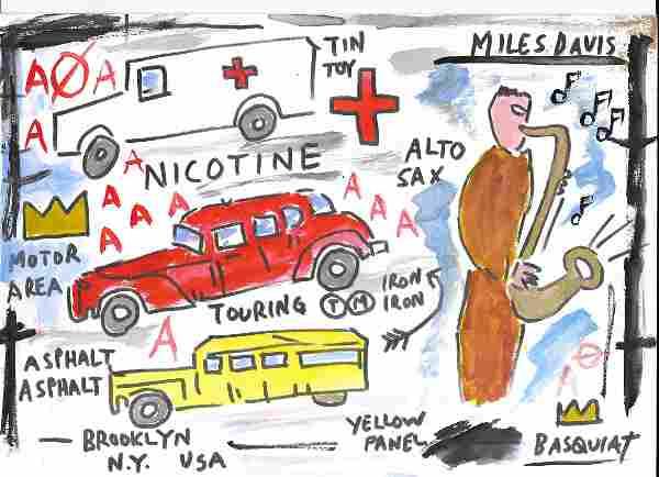 Michel Basquiat- Peso Neto - Mixed Media Painting