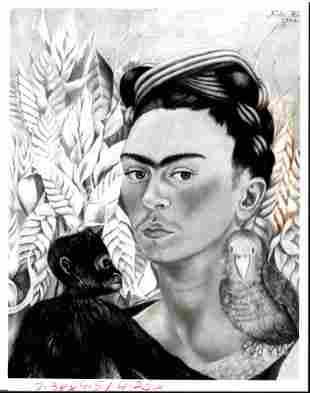 Frida Kalo self Portrait W/ Monkey & Parrot Photography
