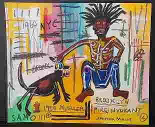 Jean-Michele Basquiat NYC Street Art Painting on Paper