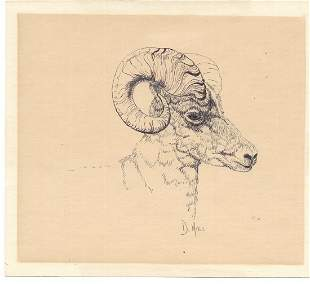 Ram Art Painting by Doris Hall Pen. Coral Cables