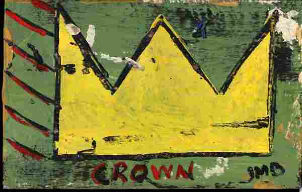 JMB Signed - SAMO CROWN - Painting on Thick Cardboard
