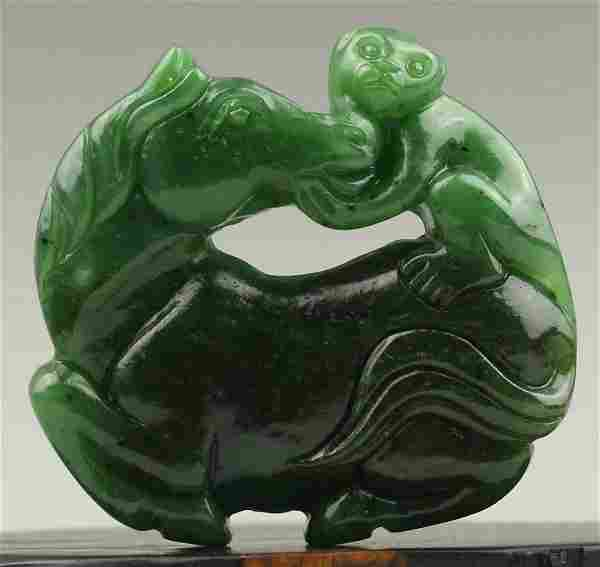 Antique Natural Jade Hand-Carved Jade Statue Horse & Mo