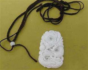 Natural White Carved Jade Dragon Pendant